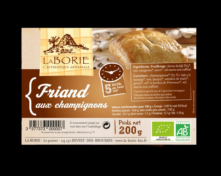 Friand aux champignons La Borie bio packaging