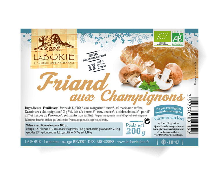 Friand aux champignons surgelé La Borie bio packaging grand