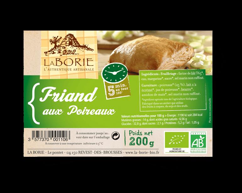Friand aux poireaux La Borie bio packaging