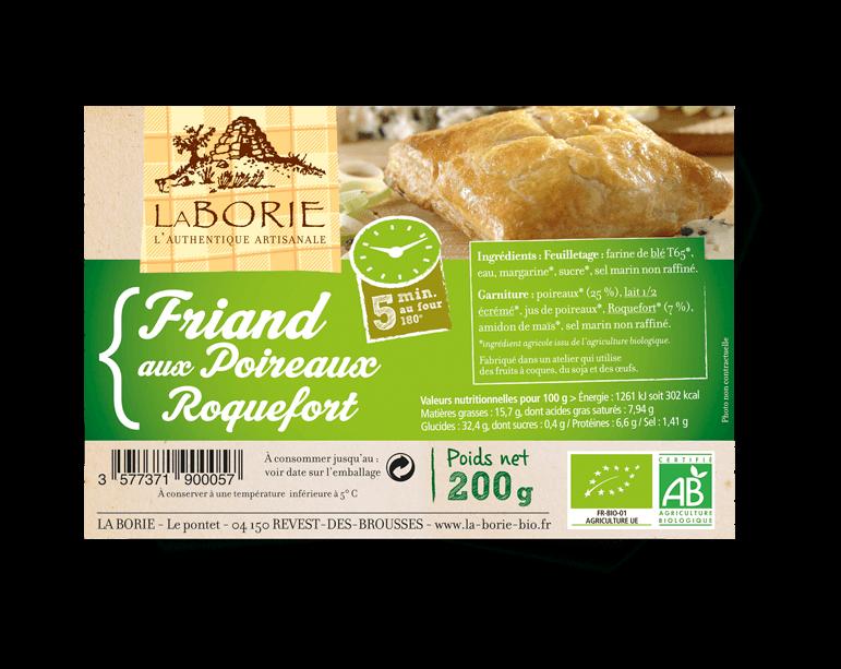 Friand aux poireaux-roquefort La Borie bio packaging