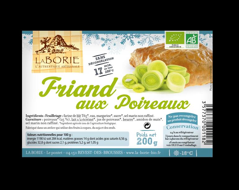 Friand aux poireaux surgelé La Borie bio packaging grand
