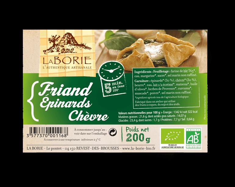 Friand aux épinard-chèvre La Borie bio packaging