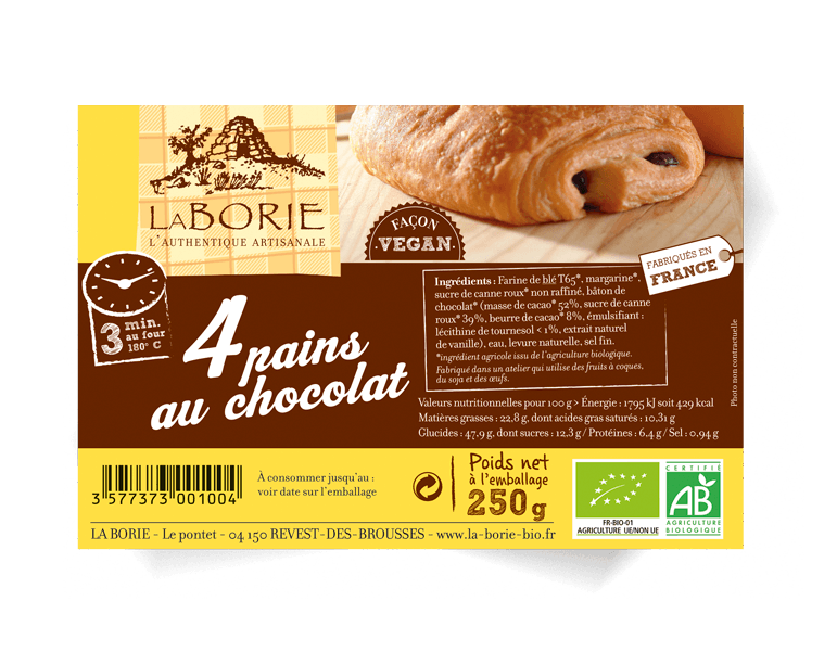 Pain au chocolat façon vegan La Borie bio packaging