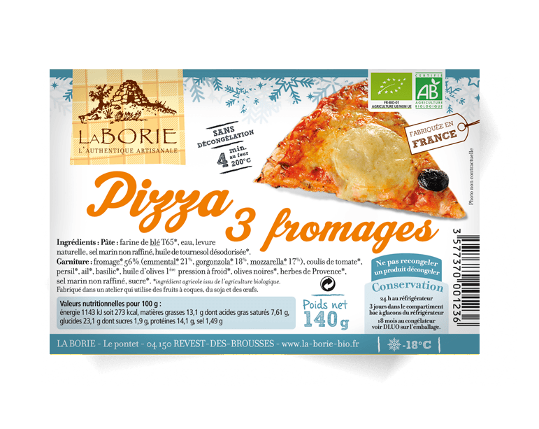 Pizza aux 3 fromages part surgelée La Borie bio packaging grand