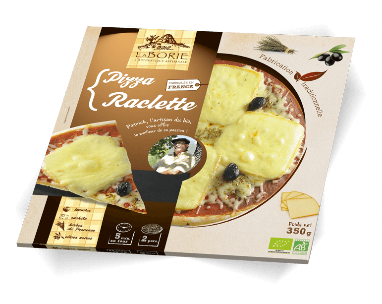 Pizza à la raclette La Borie Bio packaging