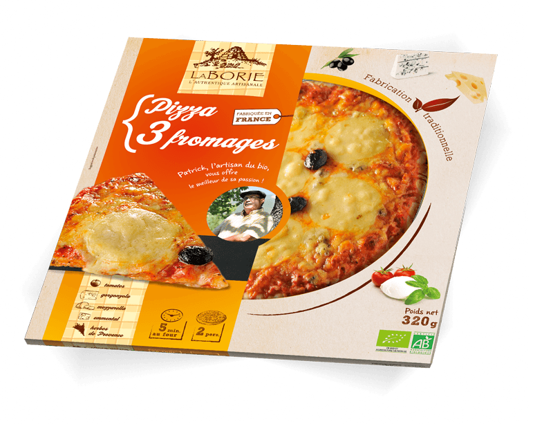 Pizza aux 3 fromages La Borie Bio packaging