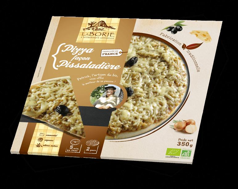 Pizza façon pissaladière La Borie Bio packaging